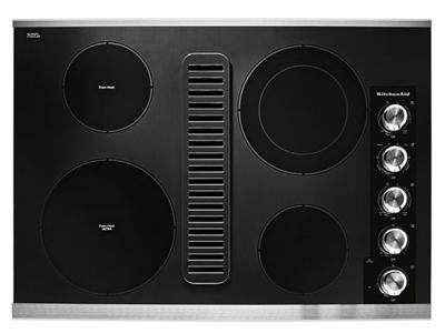 """30"""" KitchenAid Electric Downdraft Cooktop with 4 Elements - KCED600GSS"""