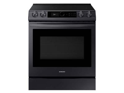 """30"""" Samsung  6.3 Cu. Ft. Electric Range With True Convection And Air Fry In Black Stainless Steel - NE63T8711SG"""