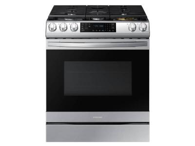 """30"""" Samsung 6.0 Cu. Ft. Gas Range With True Convection And Air Fry In Stainless Steel - NX60T8511SS"""
