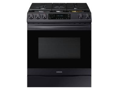 """30"""" Samsung 6.0 Cu. Ft. Gas Range With True Convection And Air Fry in Black Stainless Steel - NX60T8511SG"""