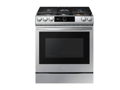 """30"""" Samsung 6.0 Cu. Ft. Gas Range With True Convection And Air Fry In Stainless Steel - NX60T8711SS"""
