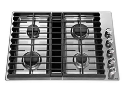 "30"" KitchenAid 4 Burner Gas Downdraft Cooktop - KCGD500GSS"
