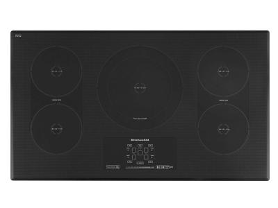 """36"""" KitchenAid Induction Cooktop with 5 Elements, Touch-Activated Controls and Power Slider - KICU569XBL"""