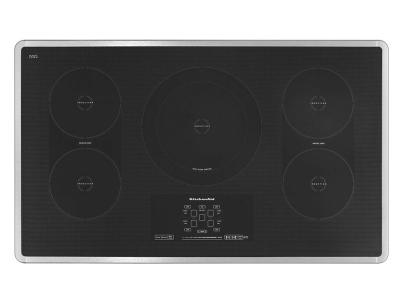 """36"""" KitchenAid Induction Cooktop with 5 Elements, Touch-Activated Controls and Power Slider - KICU569XSS"""