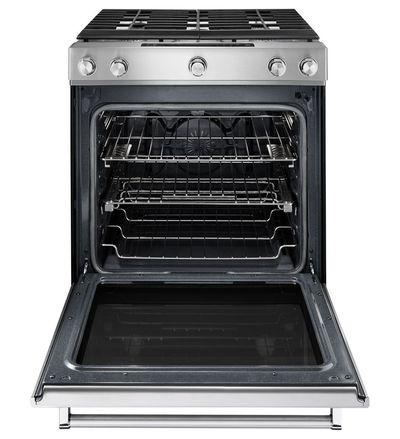 "30"" KitchenAid 6.5 Cu. Ft. 5 Burner Front Control Gas Convection Range With Baking Drawer - KSGB900ESS"