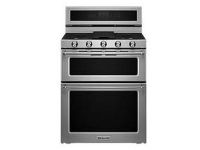 """30"""" KitchenAid 6.7 Cu. Ft. Electric Double Oven Convection Range With 5 Elements - YKFED500ESS"""
