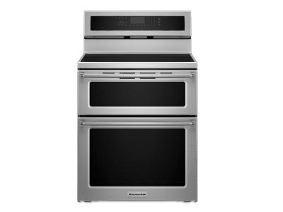 "30"" KitchenAid 6.7 Cu. Ft. 5 Burner Induction Double Oven Convection Range - YKFID500ESS"