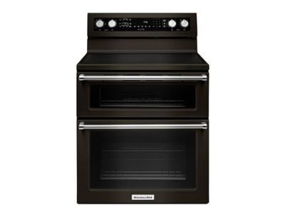 "30"" KitchenAid 6.7 Cu. Ft. 5 Burner Electric Double Oven Convection Range - YKFED500EBS"