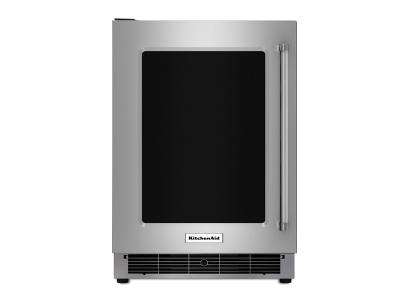 """24"""" KitchenAid Stainless Steel Undercounter Refrigerator with Metal-Front Glass Shelves - KURL304ESS"""
