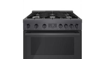 """36"""" Bosch 800 Series Dual Fuel Freestanding Range With 6 Burners In Black Stainless Steel - HDS8645C"""