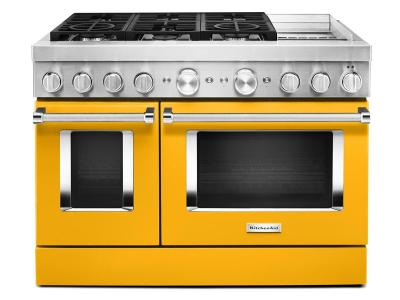 """48"""" KitchenAid 6.3 Cu. Ft. Smart Commercial-Style Dual Fuel Range With Griddle In Yellow Pepper - KFDC558JYP"""