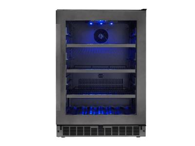"""24"""" Silhouette  Single Zone Beverage Center in in Black Stainless Steel - SSBC056D3B-S"""
