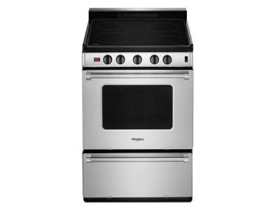 """24"""" Whirlpool Freestanding Electric Range with Upswept SpillGuard  Cooktop - YWFE50M4HS"""
