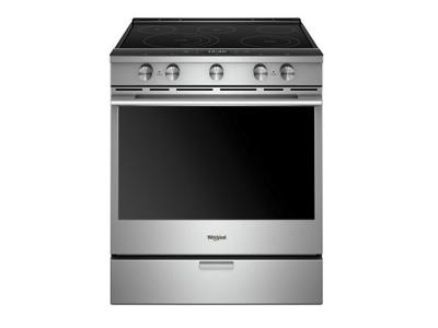 """30"""" Whirlpool 6.4 Cu. Ft. Smart Contemporary Handle Slide-in Electric Range with Frozen Bake Technology - YWEEA25H0HZ"""