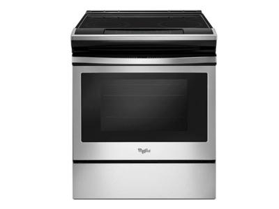 """30"""" Whirlpool 4.8 Cu. Ft. Electric Front Control Range With the Easy-wipe Ceramic Glass Cooktop - YWEE510S0FS"""