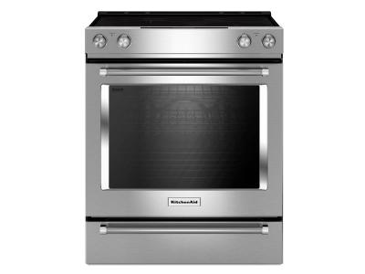 """30"""" KitchenAid 7.1 Cu. Ft. 5-Element Electric Convection Front Control Range With Baking Drawer - YKSEB900ESS"""