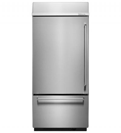 "36"" KitchenAid 20.9 Cu. Ft.  Built-In Stainless Bottom Mount Refrigerator with Platinum Interior Design - KBBL306ESS"