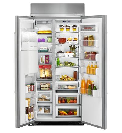 """36"""" KitchenAid 20.8 Cu. Ft. Built-In Side-by-Side Refrigerator - KBSD606ESS"""