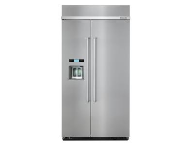 """42"""" KitchenAid 25.0 Cu. Ft. Built-In Side by Side Refrigerator - KBSD612ESS"""