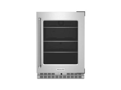 """24"""" KitchenAid Undercounter Refrigerator with Glass Door and Shelves with Metallic Accents - KURR314KSS"""