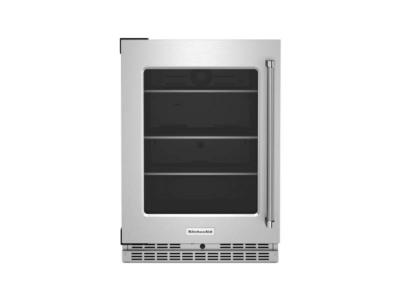 """24"""" KitchenAid Undercounter Refrigerator with Glass Door and Shelves with Metallic Accents - KURL314KSS"""