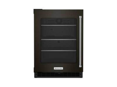 """24"""" KitchenAid Undercounter Refrigerator with Glass Door and Shelves with Metallic Accents - KURL314KBS"""