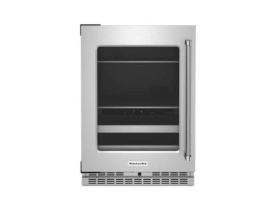 """24"""" KitchenAid Beverage Center with Glass Door and Metal-Front Racks - KUBL314KSS"""