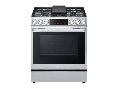 """30"""" LG 6.3 cu ft. Smart Wi-Fi Enabled ProBake Convection Gas Slide-in Range with AirFry - LSGL6335F"""