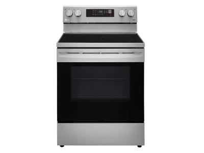 """30"""" LG 6.3 Cu. Ft. Smart Wi-Fi Enabled Fan Convection Electric Range With Air Fry And EasyClean In Stainless Steel - LREL6323S"""