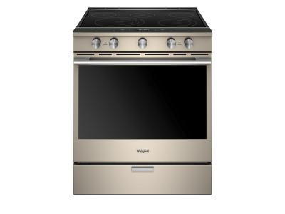 """30"""" Whirlpool 6.4 Cu. Ft. Smart Contemporary Handle Slide-in Electric Range with Frozen Bake Technology - YWEEA25H0HN"""