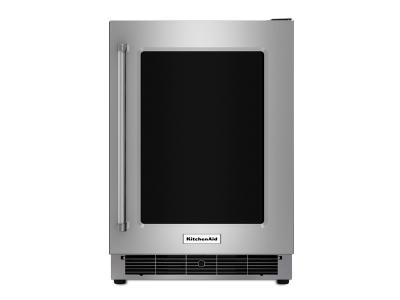 """24"""" KitchenAid Stainless Steel Undercounter Refrigerator with Metal-Front Glass Shelves - KURR304ESS"""