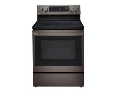 """30"""" LG 6.3 Cu. Ft. Air Fry InstaView ThinQ Electric Range In Black Stainless Steel - LREL6325D"""