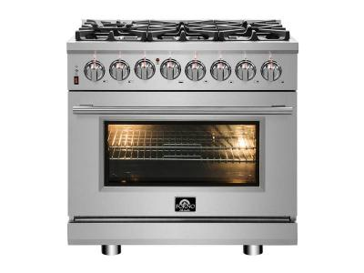 """36"""" Forno 5.36 Cu. Ft. Gas Range with 240 Volt Oven Dual Fuel - FFSGS6125-36"""