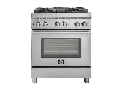 """30"""" Forno Gas Range with Electric Oven Dual Fuel Free-Standing Pro-Style Range - FFSGS6188-30"""