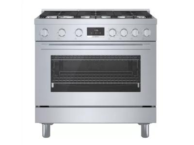 """36"""" Bosch 800 Series Dual Fuel Freestanding Range With 6 Burners In Stainless Steel - HDS8655C"""