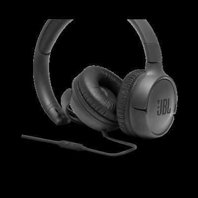 JBL Tune 500 Wired On-Ear Headphones In Black - JBLT500BLKAM