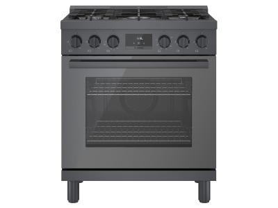 """30"""" Bosch 800 Series Freestanding Gas Range With 5 Burners In Black Stainless Steel - HGS8045UC"""