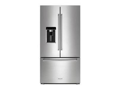 "36"" KitchenAid 23.8 Cu. Ft. Counter Depth French Door Platinum Interior Refrigerator - KRFC704FPS"