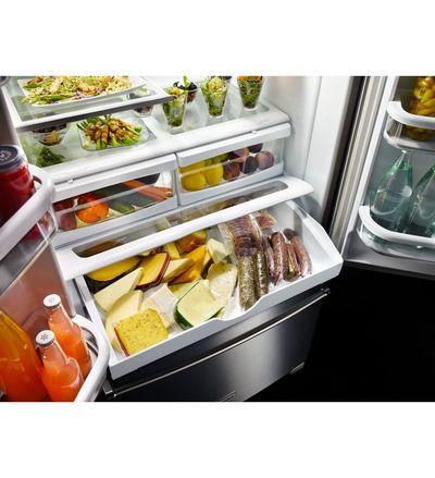 """36"""" KitchenAid 25 cu. ft. Standard Depth French Door Refrigerator with Interior Dispense - KRFF305ESS"""