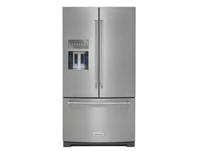 """36"""" KitchenAid 26.8 Cu. Ft. Standard Depth French Door Refrigerator With Exterior Ice And Water and PrintShield Finish - KRFF507HPS"""