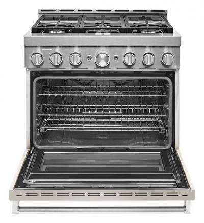 "36"" KitchenAid 5.1 Cu. Ft. Smart Commercial-Style Gas Range With 6 Burners - KFGC506JMH"