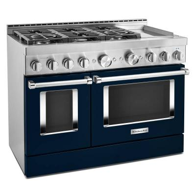 """48"""" KitchenAid 6.3 Cu. Ft. Smart Commercial-Style Gas Range With Griddle - KFGC558JIB"""