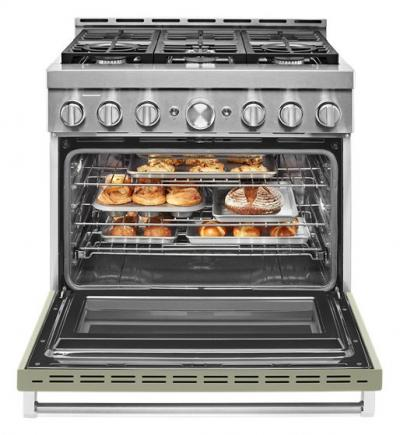 """36"""" KitchenAid 5.1 Cu. Ft. Smart Commercial-Style Gas Range With 6 Burners In Matte Avocado Cream - KFGC506JAV"""