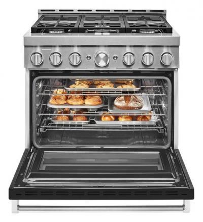 "36"" KitchenAid 5.1 Cu. Ft. Smart Commercial-Style Gas Range With 6 Burners - KFGC506JBK"