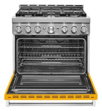 "36"" KitchenAid 5.1 Cu. Ft. Yellow Pepper Gas Sealed Burner Range - KFGC506JYP"