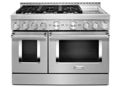 "48"" KitchenAid 6.3 Cu. Ft. Smart Commercial-Style Gas Range With Griddle - KFGC558JSS"