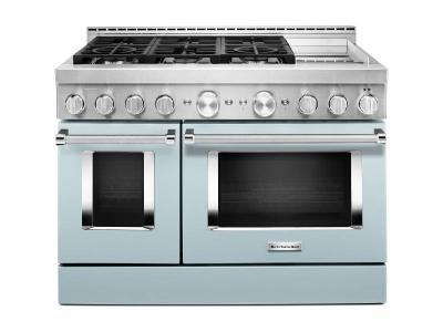 """48"""" KitchenAid 6.3 Cu. Ft. Misty Blue Gas Sealed Burner Range With Griddle - KFGC558JMB"""