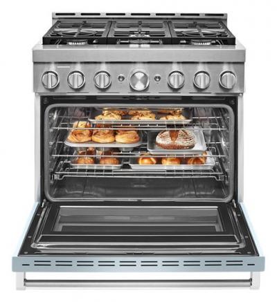 "36"" KitchenAid 5.1 Cu. Ft. Smart Commercial-Style Gas Range With 6 Burners - KFGC506JMB"