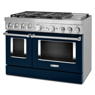 """48"""" KitchenAid 6.3 Cu. Ft. Smart Commercial-style Dual Fuel Range With Griddle - KFDC558JIB"""