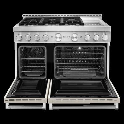 "48"" KitchenAid 6.3 Cu. Ft. Smart Commercial-Style Gas Range With Griddle - KFGC558JMH"